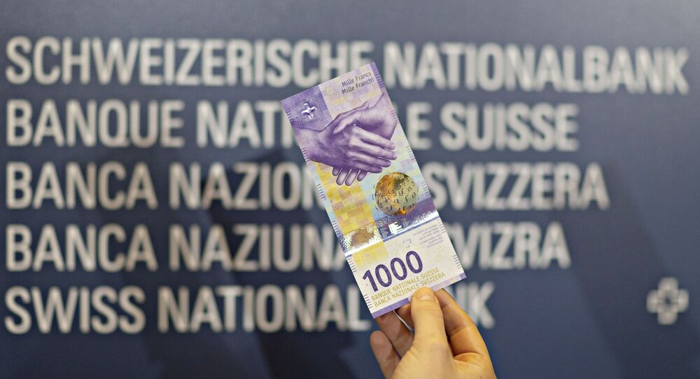 An image of the new 1000 Swiss franc note shown during a press conference on 5 March 2019 in Zurich.