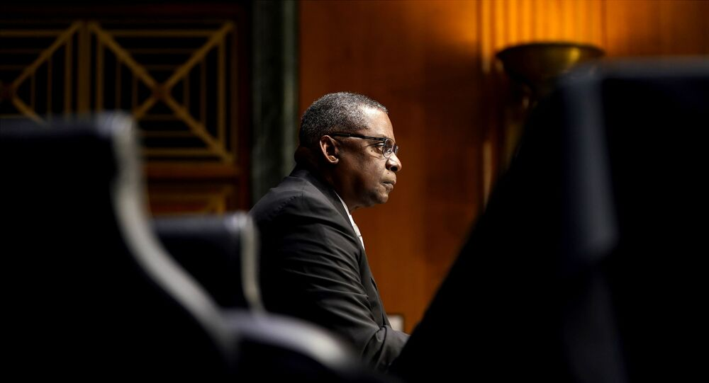 U.S. President-elect Joe Biden's nominee for Secretary of Defense Retired Army Gen. Lloyd Austin answers questions during his confirmation before the Senate Armed Services Committee in Washington, U.S. January 19, 2021.