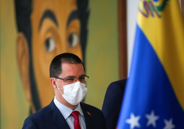 Venezuela's Foreign Minister Jorge Arreaza arrives to deliver a press statement at the Foreign Ministry headquarters in Caracas, Venezuela January 16, 2021.