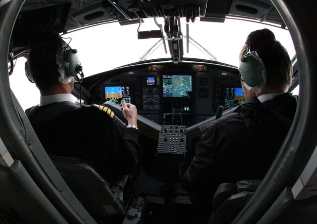 A view of the cockpit of the Aurora airlines' DHC-6 Twin Otter 400, flying over the Vladivostok-Kavalerovo-Vladivostok route