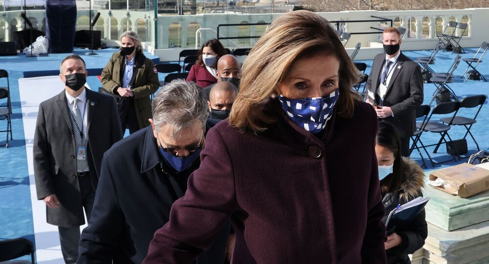 U.S. House Speaker Nancy Pelosi (D-CA) inspects the official platform a day before President-elect Joe Biden's inauguration at the U.S. Capitol in Washington, U.S. January 19, 2021