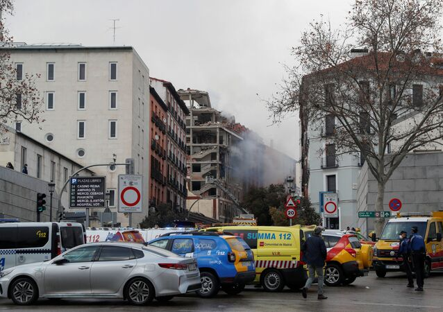 Smoke rises from the site of an explosion in Madrid downtown, in Madrid Spain January 20, 2021