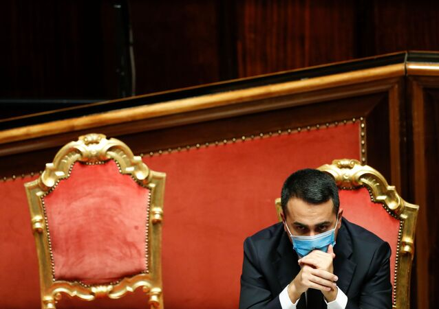 Italian Foreign Minister Luigi Di Maio attends a debate ahead of a confidence vote at the upper house of parliament after former Prime Minister Matteo Renzi pulled his party out of government, in Rome, Italy, January 19, 2021.