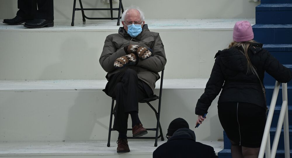 Former presidential candidate, Senator Bernie Sanders (D-Vermont) sits in the bleachers on Capitol Hill before Joe Biden is sworn in as the 46th US President