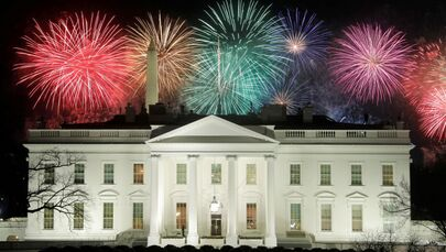 Fireworks are seen above the White House after the inauguration of Joe Biden as the 46th president of the United States in Washington, DC, US, 20 January 2021.