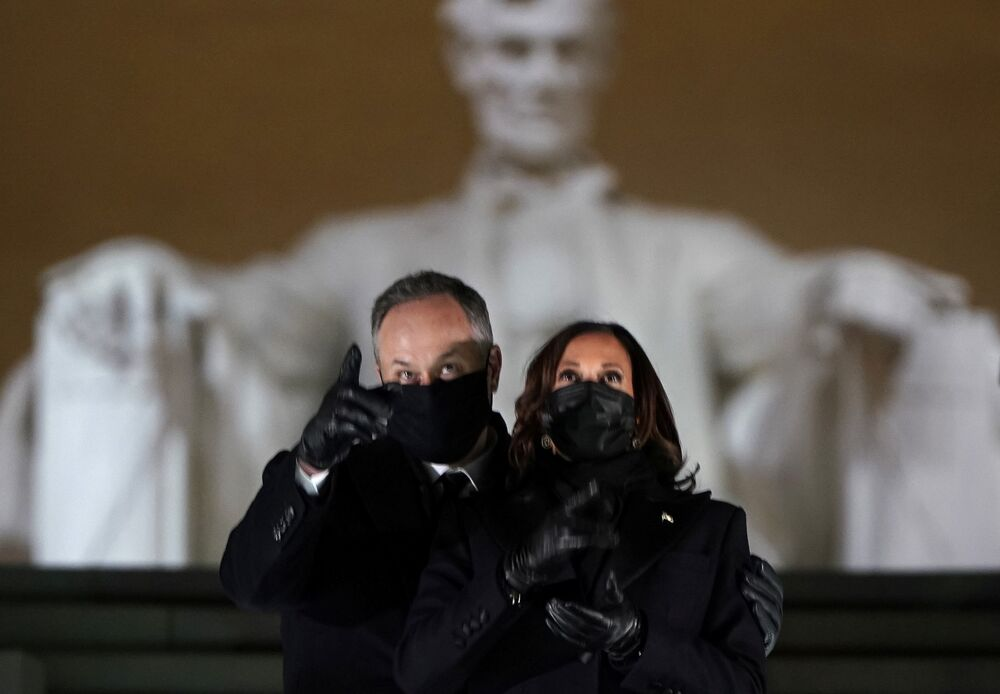 US Vice President Kamala Harris and her husband Doug Emhoff attend the Celebrating America event at the Lincoln Memorial after the inauguration of Joe Biden as the 46th president of the United States in Washington, DC, US, 20 January 2021.