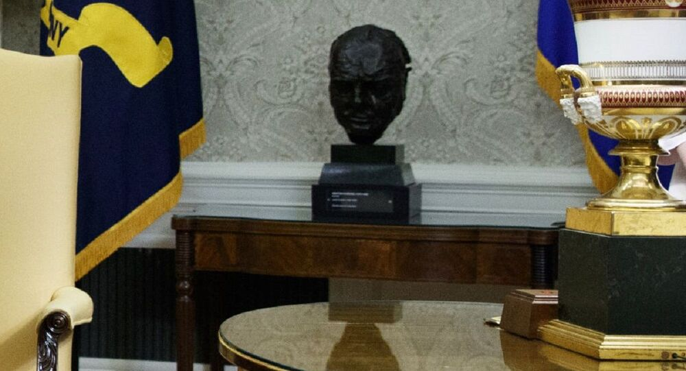 Bust of Winston Churchill in the Oval Office of the White House (File)