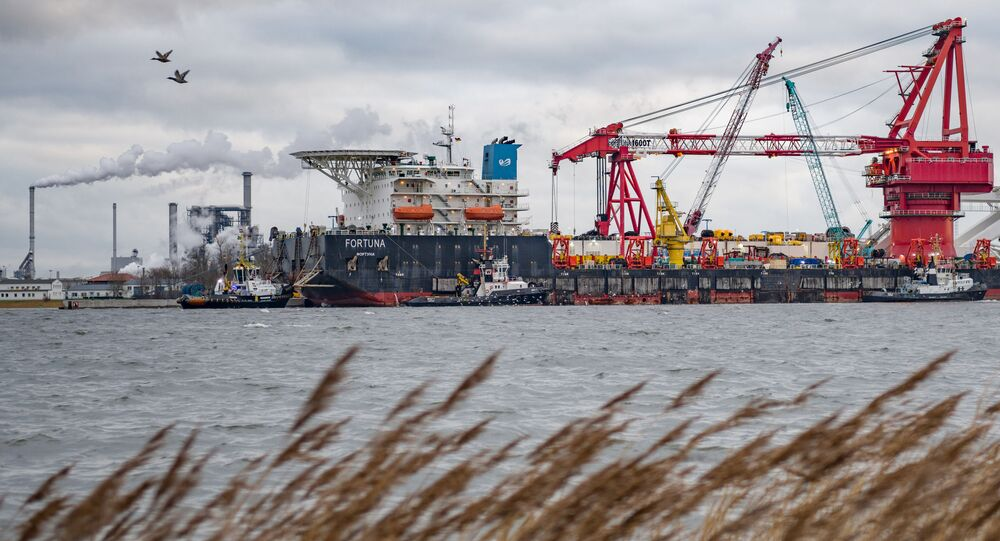 Pipe-laying vessel Fortuna in the port of the German city of Wismar. Gazprom plans to resume construction of Nord Stream 2 in Danish waters.