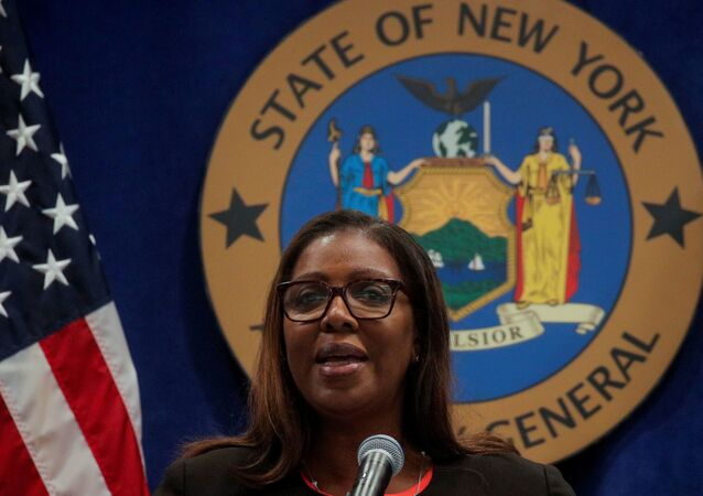 New York State Attorney General Letitia James speaks during a news conference regarding a lawsuit to dissolve the National Rifle Association, In New York, U.S., August 6, 2020.