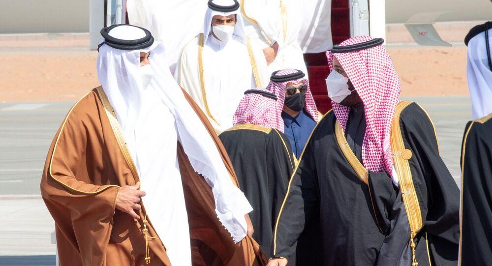 Saudi Arabia's Crown Prince Mohammed bin Salman welcomes Qatar's Emir Sheikh Tamim bin Hamad al-Thani upon his arrival to attend the Gulf Cooperation Council's (GCC) 41st Summit in Al-Ula, Saudi Arabia January 5, 2021