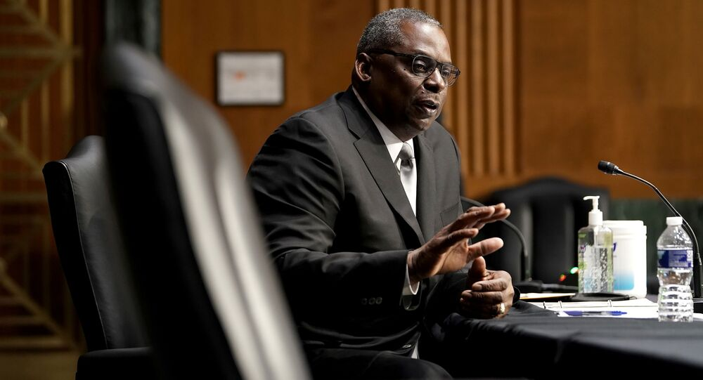 President-elect Joe Biden's nominee for Secretary of Defense Retired Army Gen. Lloyd Austin answers questions during his confirmation before the Senate Armed Services Committee on Tuesday, January 19, 2021.