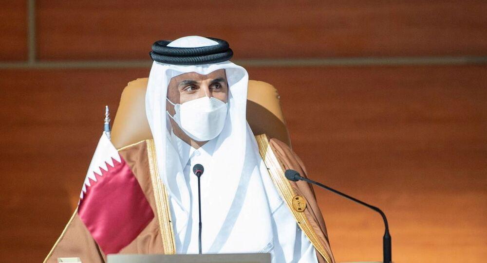 Qatar's Emir Sheikh Tamim bin Hamad al-Thani attends the Gulf Cooperation Council's (GCC) 41st Summit in Al-Ula, Saudi Arabia January 5, 2021