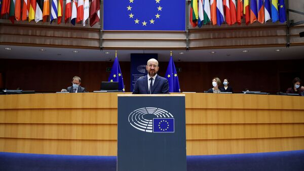 European Council President Charles Michel addresses European lawmakers during a plenary session on the inauguration of the new President of the United States and the current political situation, at the European Parliament in Brussels, Belgium, January 20, 2021 - Sputnik International