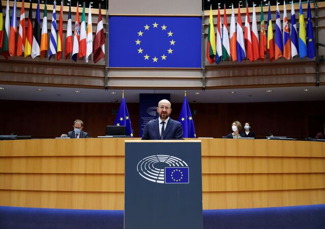 European Council President Charles Michel addresses European lawmakers during a plenary session on the inauguration of the new President of the United States and the current political situation, at the European Parliament in Brussels, Belgium, January 20, 2021