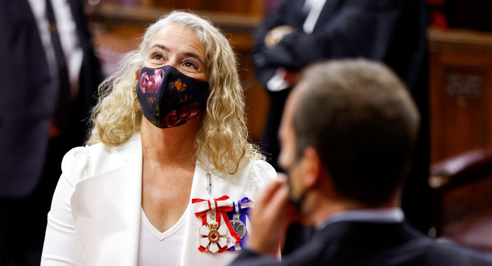 Canada's Governor General Julie Payette socializes prior to delivering the Throne Speech in the Senate, as parliament prepares to resume in Ottawa, Ontario, Canada September 23, 2020.
