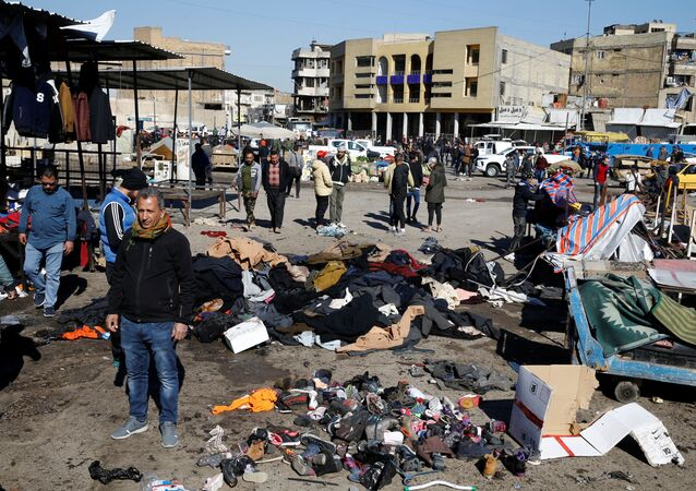 The site of a twin suicide bombing attack in a central market is seen in Baghdad, Iraq January 21, 2021.