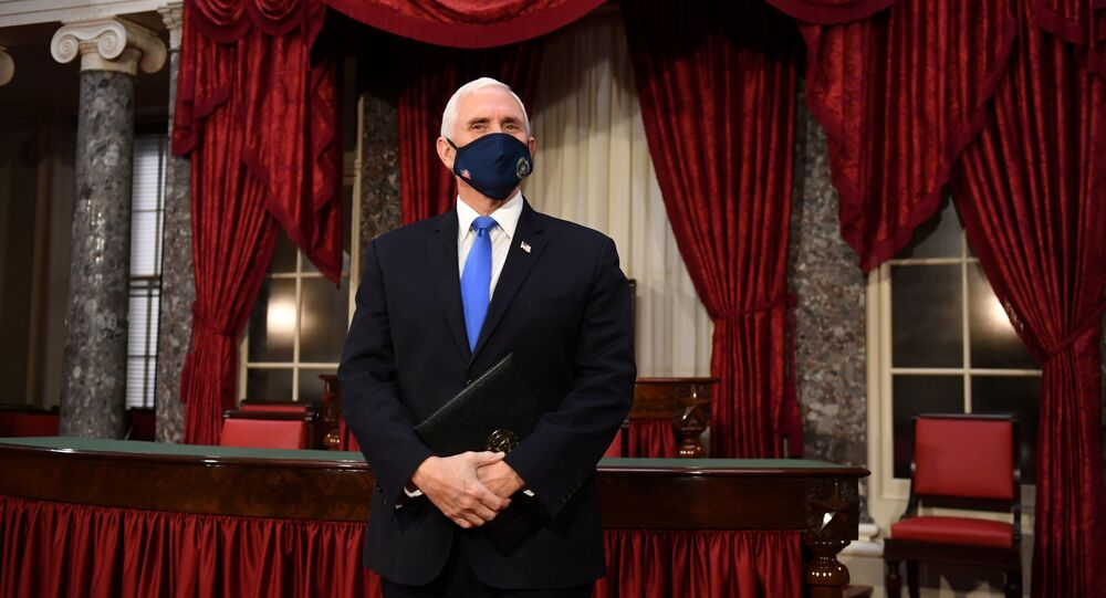 Vice President Mike Pence arrives to hold swearing-in ceremonies for Senators in the Old Senate Chambers at the U.S. Capitol Building in Washington, DC, U.S.  January 3, 2021.