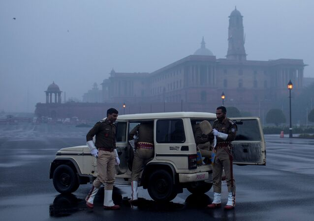 India's Central Reserve Police Force personnel arrive to take part in the rehearsal for the Republic Day parade early morning in New Delhi, India, January 6, 2021