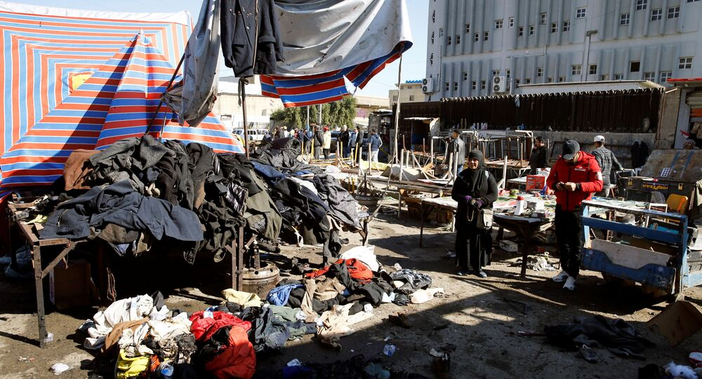 The site of a twin suicide bombing attack in a central market is seen in Baghdad, Iraq January 21, 2021