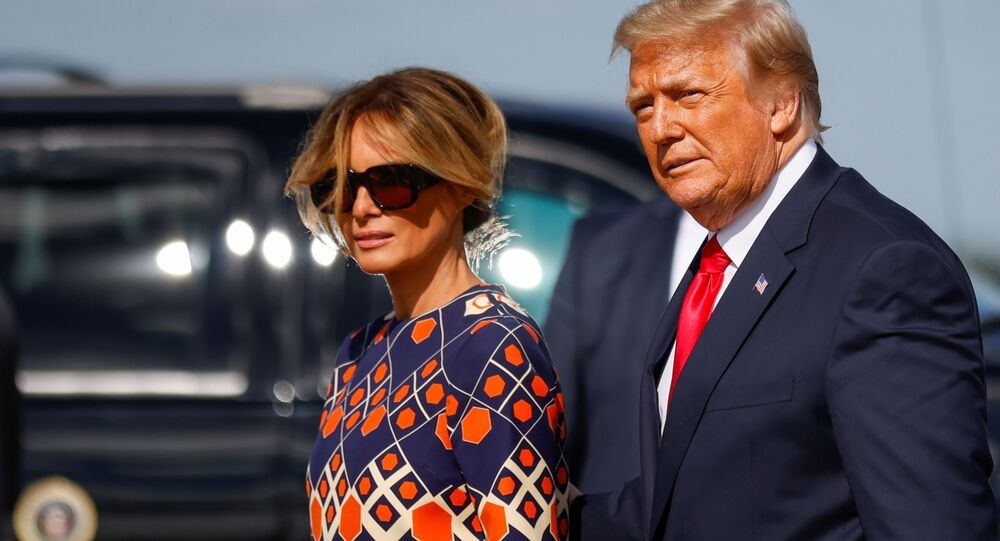 US President Donald Trump and first lady Melania Trump arrive at Palm Beach International Airport in West Palm Beach, Florida, 20 January 2021
