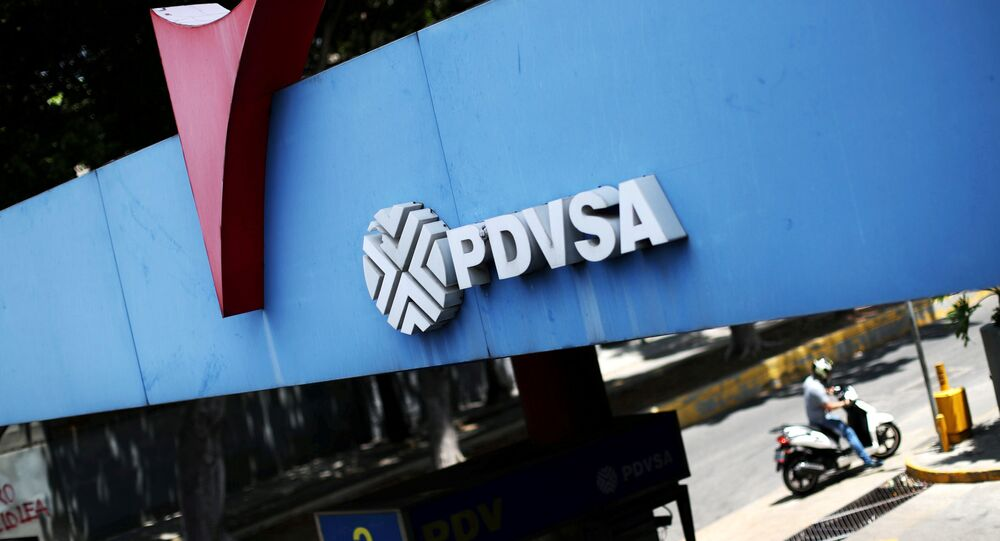 A state oil company PDVSA's logo is seen at a gas station in Caracas, Venezuela May 17, 2019.