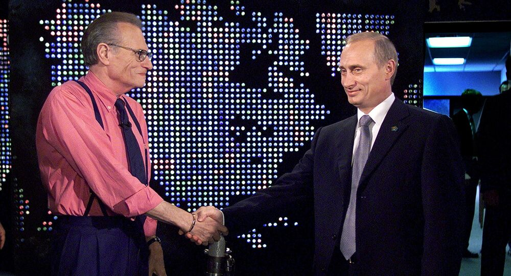 Russian President Vladimir Putin shakes hands with Larry King before a taping of The Larry King Show in New York, U.S, September 8, 2000.