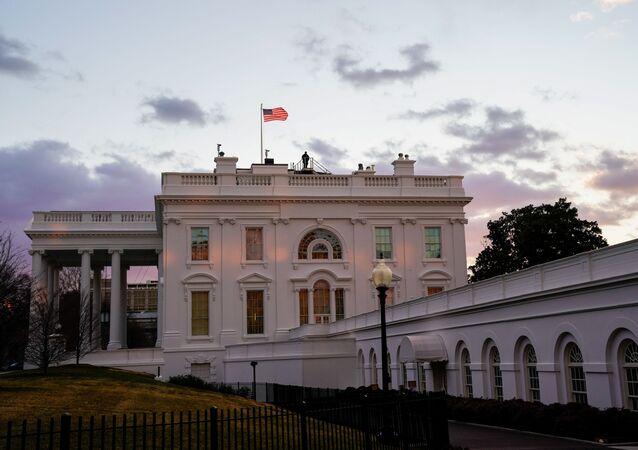 The White House is seen at sunrise during U.S. President Joe Biden's first week in office in Washington, U.S., January 23, 2021.