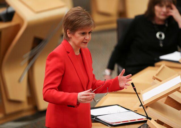 Scottish First Minister Nicola Sturgeon speaks at the Parliament in Edinburgh