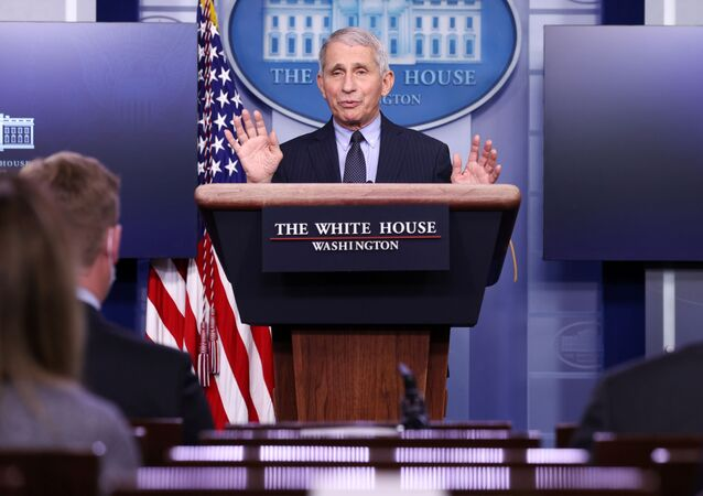 NIH National Institute of Allergy and Infectious Diseases Director Anthony Fauci addresses the daily press briefing at the White House in Washington, U.S. January 21, 2021.