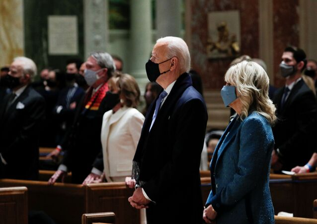 President-elect Joe Biden and his wife Jill Biden attend a church service before his presidential inauguration, at St. Matthews Catholic Church in Washington, U.S., January 20, 2021.