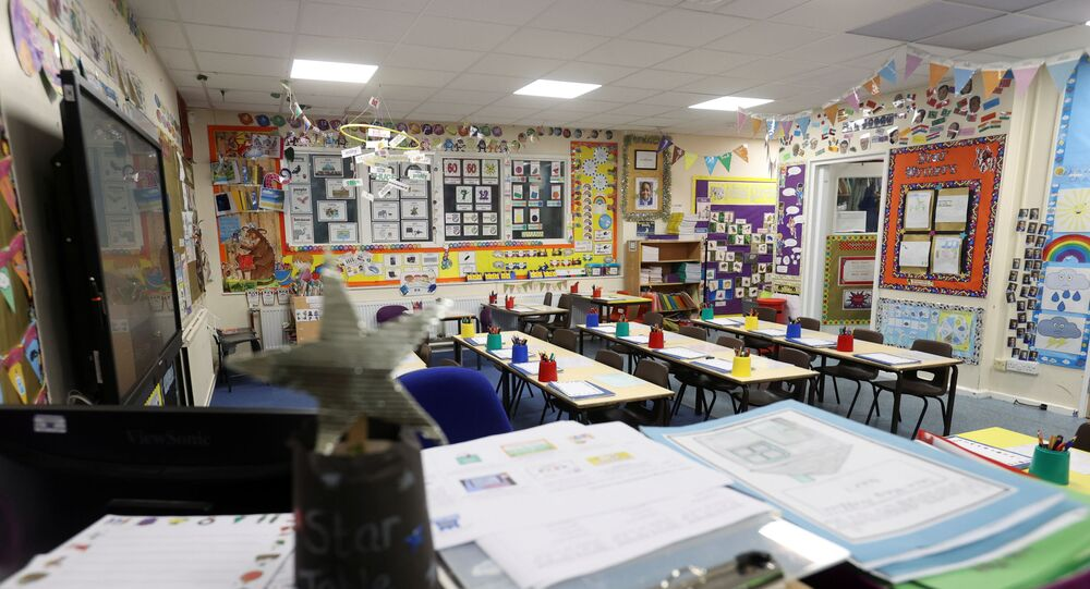 An empty classroom is seen at Westlands Primary School, amid the coronavirus disease (COVID-19) outbreak, in Newcastle-under-Lyme, Staffordshire, Britain, January 4, 2021.