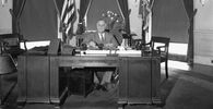 President Franklin D. Roosevelt is shown at his desk at the White House, 27 May 1933.