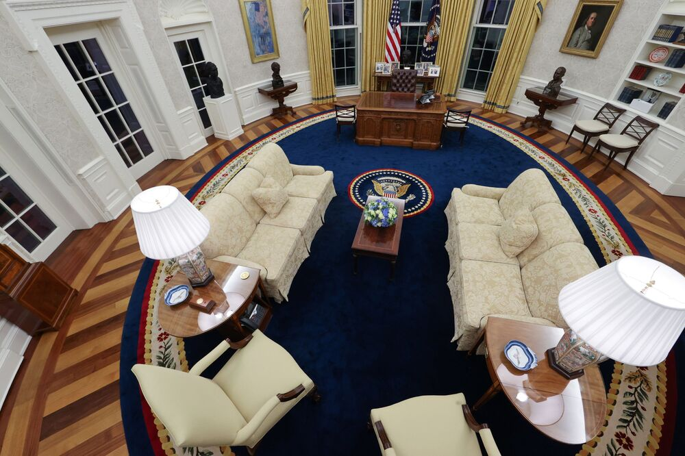 A general view shows the Oval Office as decorated for newly-inaugurated President Joe Biden at the White House, 21 January 2021.