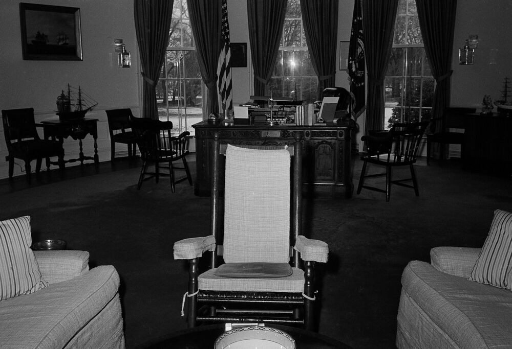 President Kennedy's rocking chair is shown in the Oval Office of the White House, 9 March 1962.