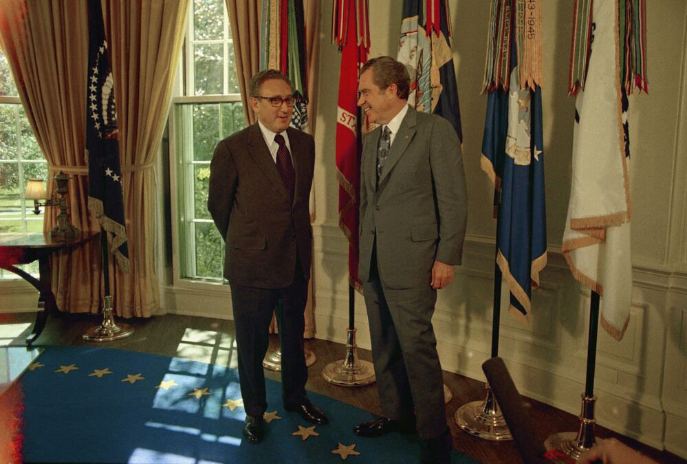 Secretary of State Henry Kissinger being congratulated on 16 October 1973 by President Richard Nixon in the Oval Office of the White House, following the announcement that Kissinger had won the 1973 Nobel Peace Prize. Kissinger and North Vietnamese diplomat Lo Duc Tho won the prize together for their efforts in ending the Vietnam war.