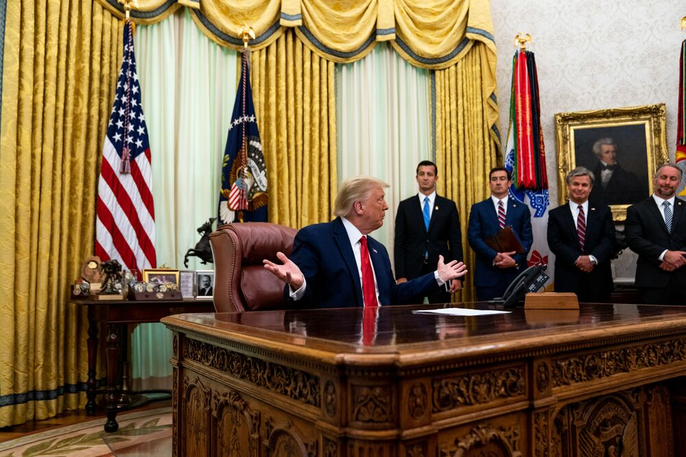 President Donald Trump addresses reporters in the Oval Office of the White House after receiving a briefing from law enforcement on Keeping American Communities Safe: The Takedown of Key MS-13 Criminal Leaders on 15th July 2020 in Washington DC.