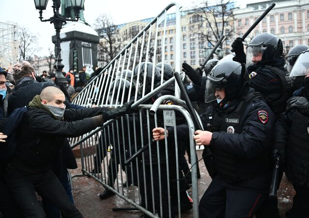 Unauthorised rallies in support of Alexei Navalny  Moscow 23 January