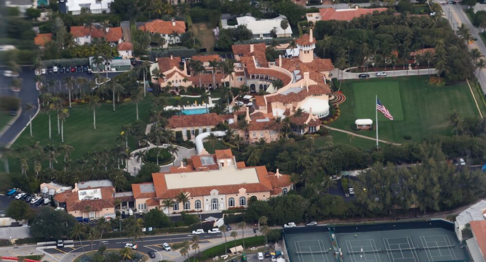 The Mar-a-Lago in Palm Beach is seen from a window of the plane, as U.S. President Donald Trump and first lady Melania Trump (not pictured) travel to Palm Beach International Airport, Florida, U.S., January 20, 2021