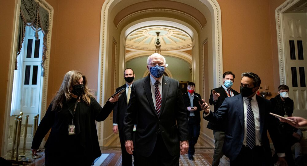 US Senator Patrick Leahy (D-VT) walks to his office after delivering floor remarks at the U.S. Capitol in Washington