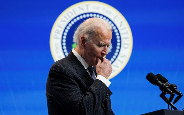 U.S. President Joe Biden pauses as he speaks about his administration's plans to strengthen American manufacturing during a brief appearance in the South Court Auditorium at the White House in Washington, U.S., January 25, 2021