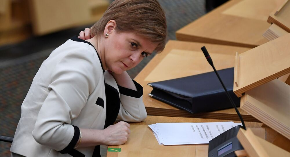 Scotland's First Minister Nicola Sturgeon, attends the First Minister's Questions at the Scottish Parliament in Holyrood, Edinburgh, Scotland, Britain January 13, 2021, where she delivered an update on the coronavirus pandemic