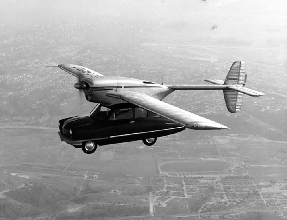 Convair Model 118, a prototype of a flying car in flight, 1947.