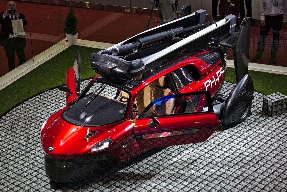 Flying car PAL-V at the 2018 Geneva Motor Show.