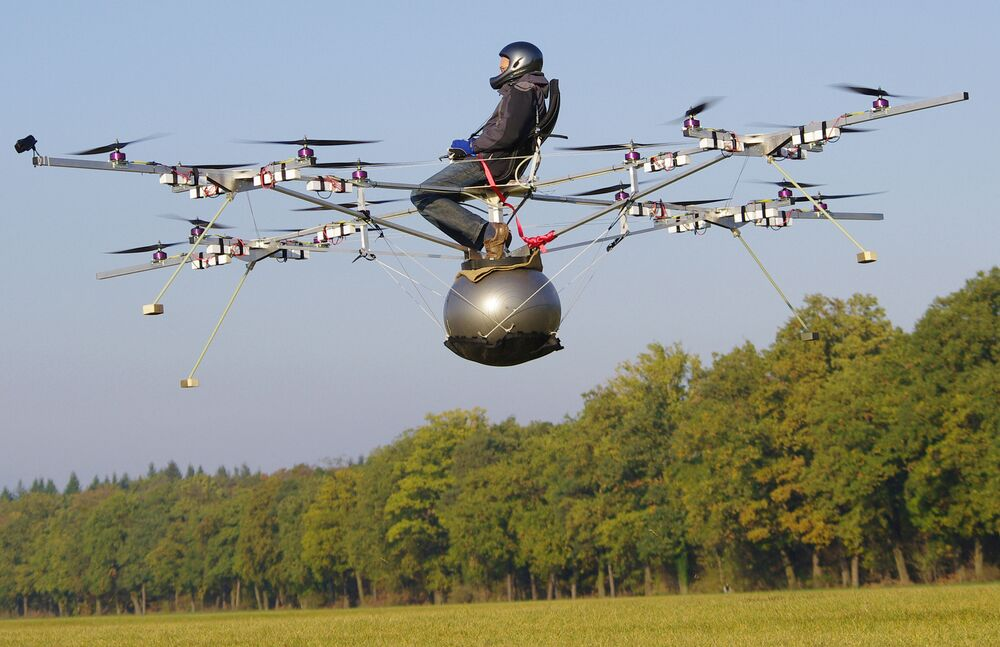 The world's first manned flight on an electric multicopter. The flight lasted one minute and 30 seconds and was conducted by Thomas Senkel of e-volo on an airstrip in Karlsruhe, Germany, in October 2011.