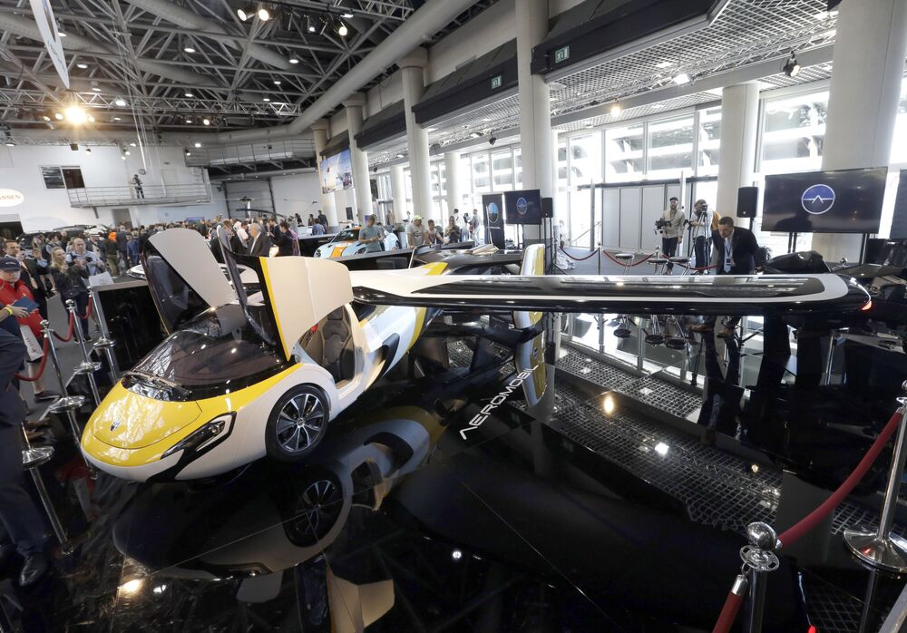 AeroMobil displays their latest prototype of a flying car in Monaco, Thursday, 20 April 2017.