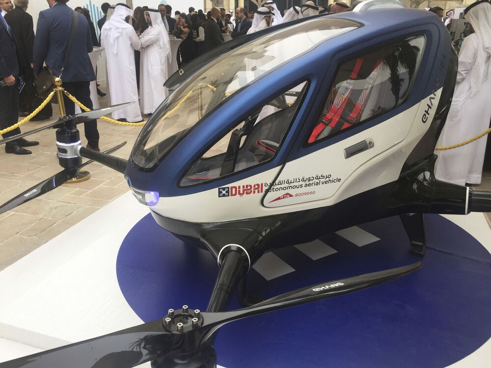 A model of EHang 184 and the next generation of Dubai Drone Taxi is seen during the second day of the World Government Summit in Dubai, United Arab Emirates, Monday, 13 February 2017.