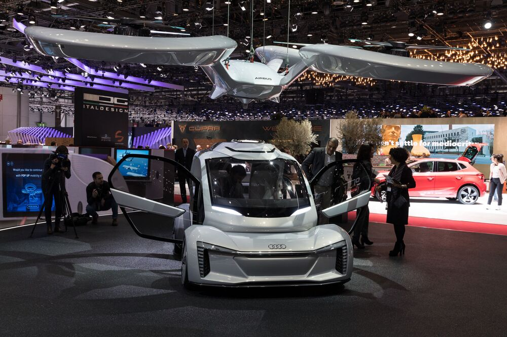 A prototype of Audi's unmanned flying electric vehicle Pop.Up Next presented at the Geneva Motor Show in 2018.