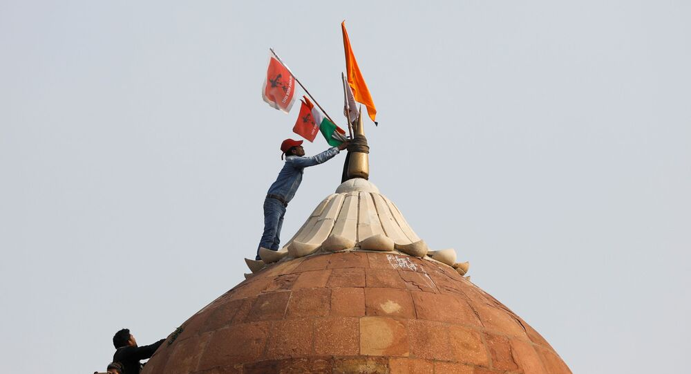 A man holds a flag as he stands on the top of the historic Red Fort during a protest against farm laws introduced by the government, in Delhi