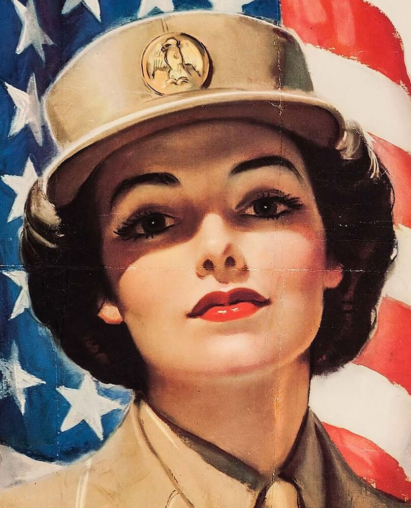 A poster aimed at recruiting girls to the US Army Women's Corps, 1943.