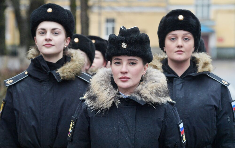 Female cadets during drills at the Peter the Great Naval Institute in St. Petersburg, Russia.